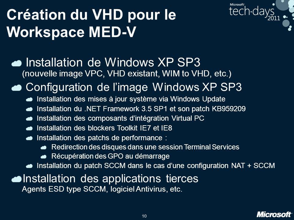 10 Installation de Windows XP SP3 (nouvelle image VPC, VHD existant, WIM to VHD, etc.) Configuration de l'image Windows XP SP3 Installation des mises