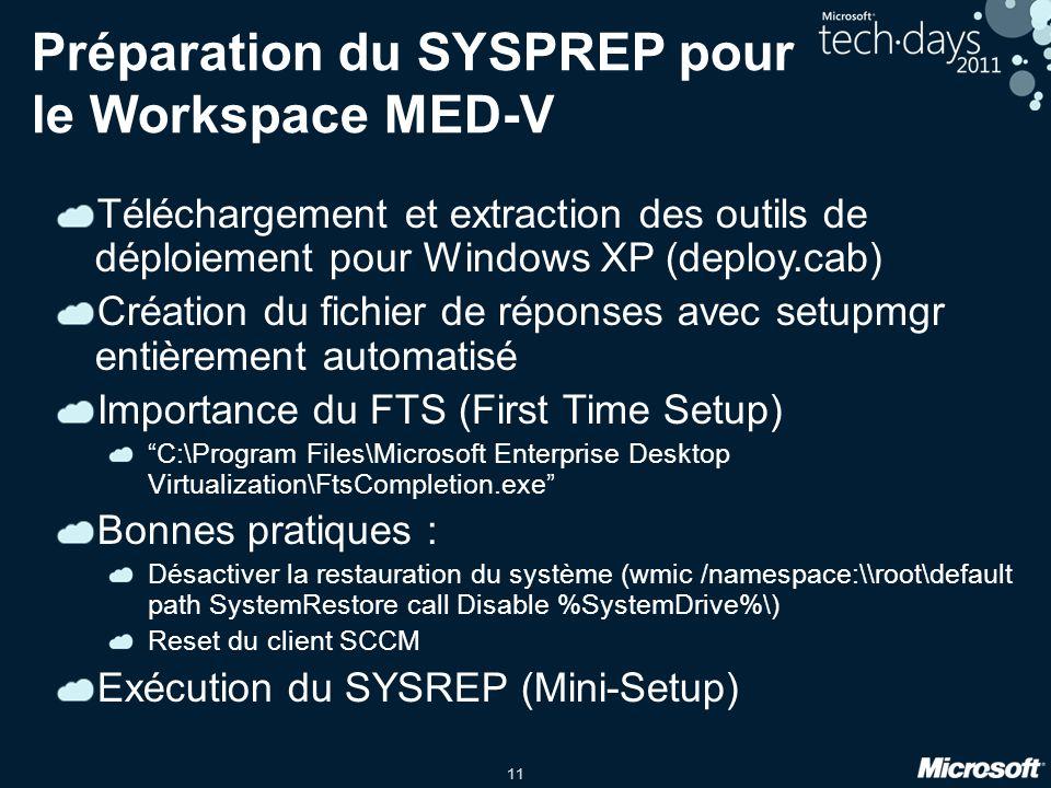11 Préparation du SYSPREP pour le Workspace MED-V Téléchargement et extraction des outils de déploiement pour Windows XP (deploy.cab) Création du fich