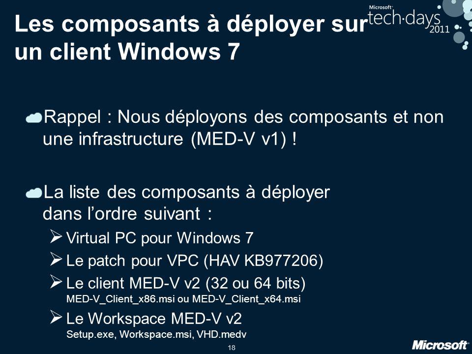 18 Les composants à déployer sur un client Windows 7 Rappel : Nous déployons des composants et non une infrastructure (MED-V v1) ! La liste des compos
