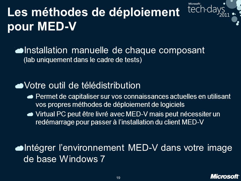 19 Les méthodes de déploiement pour MED-V Installation manuelle de chaque composant (lab uniquement dans le cadre de tests) Votre outil de télédistrib