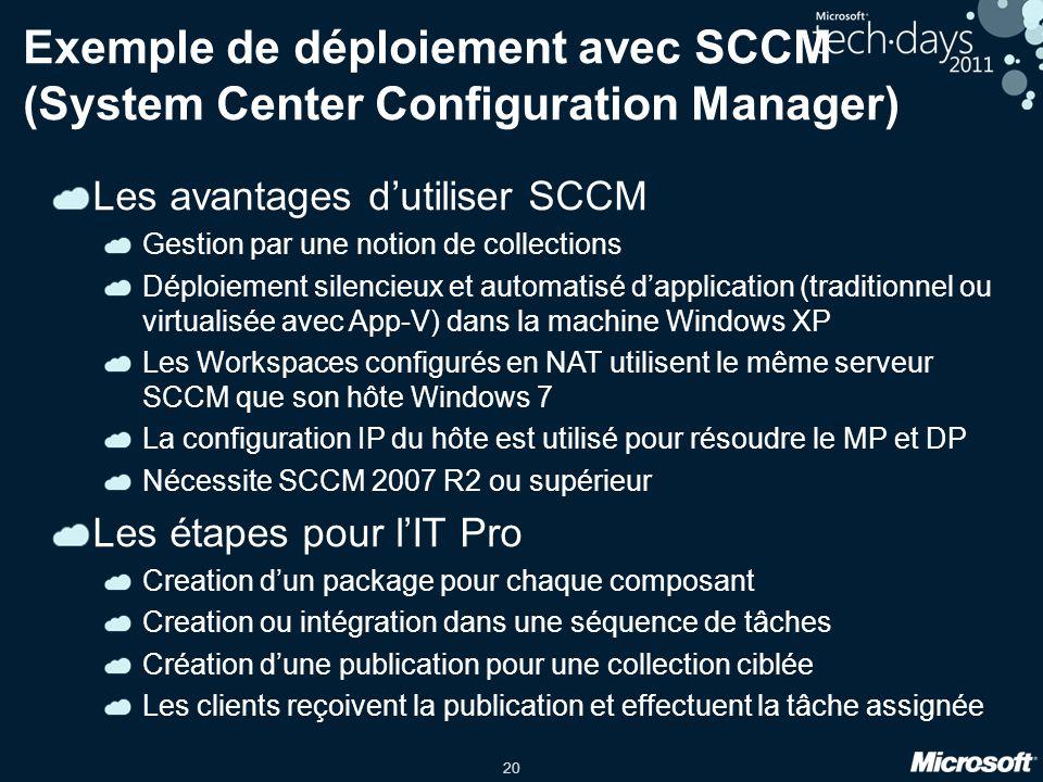 20 Exemple de déploiement avec SCCM (System Center Configuration Manager) Les avantages d'utiliser SCCM Gestion par une notion de collections Déploiem