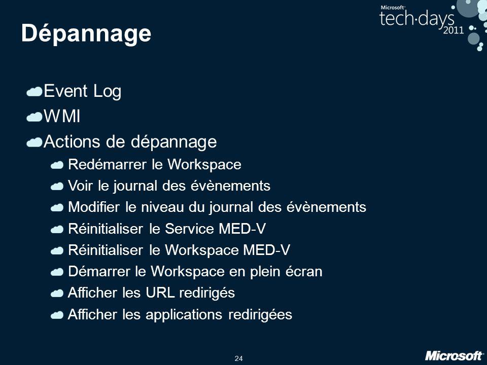 24 Dépannage Event Log WMI Actions de dépannage Redémarrer le Workspace Voir le journal des évènements Modifier le niveau du journal des évènements Ré