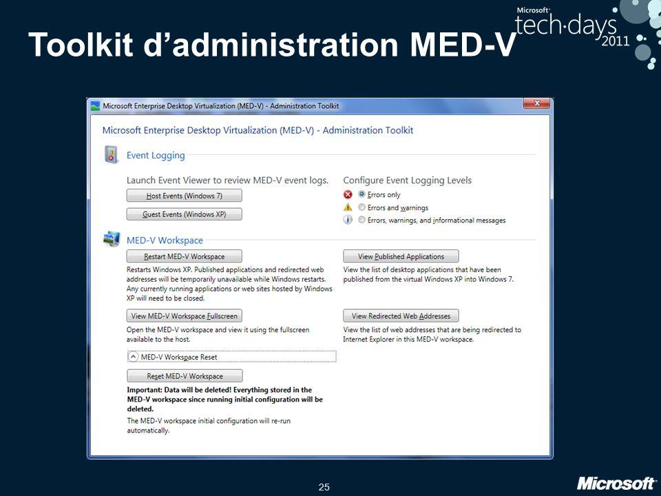 25 Toolkit d'administration MED-V
