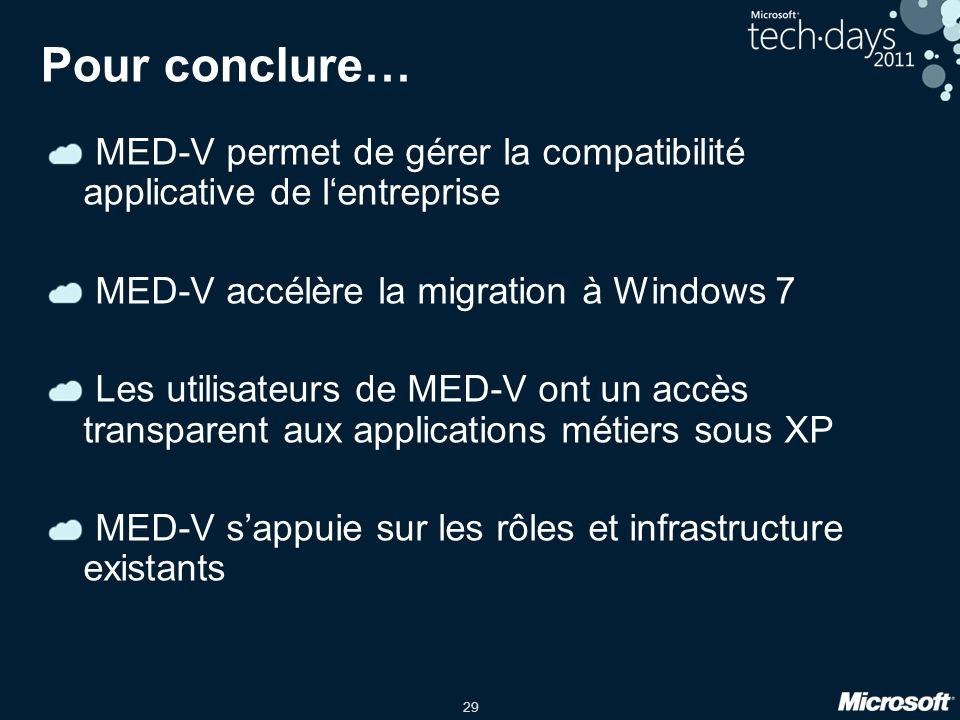 29 Pour conclure… MED-V permet de gérer la compatibilité applicative de l'entreprise MED-V accélère la migration à Windows 7 Les utilisateurs de MED-V