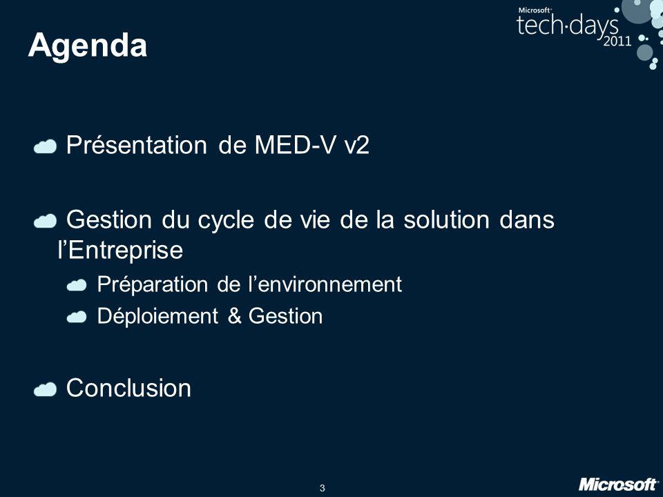3 Agenda Présentation de MED-V v2 Gestion du cycle de vie de la solution dans l'Entreprise Préparation de l'environnement Déploiement & Gestion Conclu