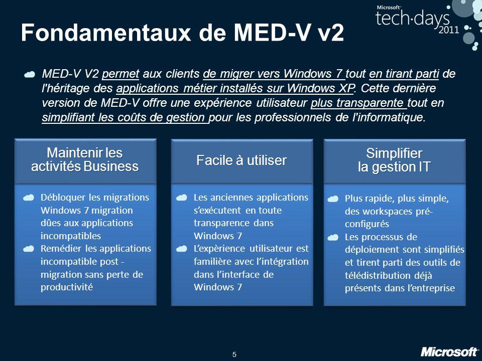 5 Simplifier la gestion IT Simplifier Facile à utiliser Maintenir les activités Business Maintenir les activités Business Fondamentaux de MED-V v2 MED
