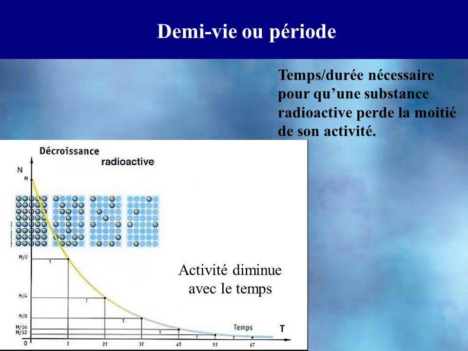 Demi-vie ou période Temps/durée nécessaire pour qu'une substance radioactive perde la moitié de son activité. Activité diminue avec le temps