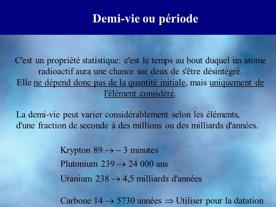Demi-vie ou période C'est un propriété statistique: c'est le temps au bout duquel un atome radioactif aura une chance sur deux de s'être désintégré. E