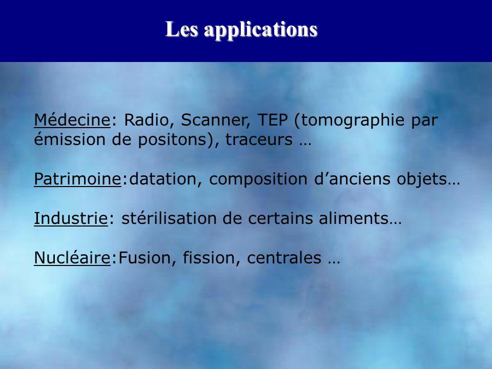Les applications Médecine: Radio, Scanner, TEP (tomographie par émission de positons), traceurs … Patrimoine:datation, composition d'anciens objets… I
