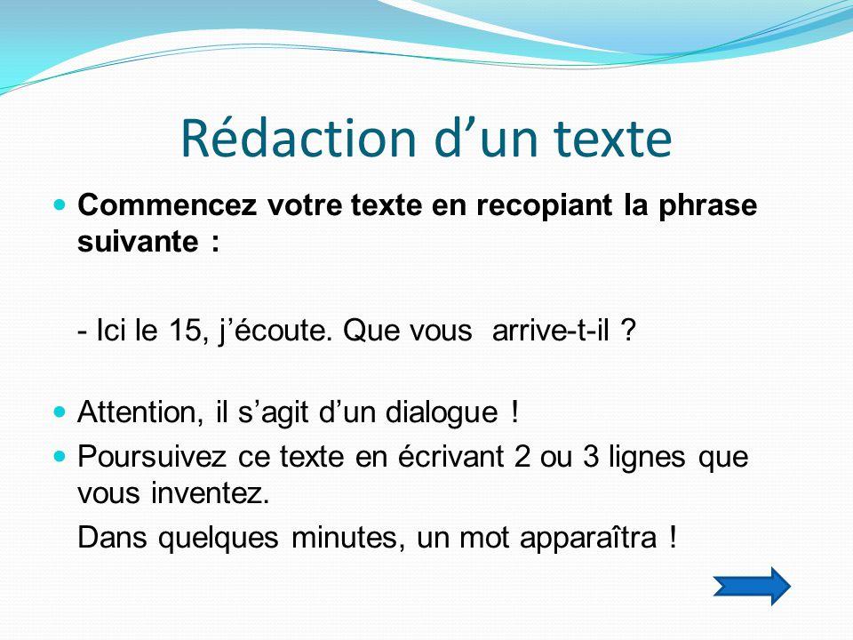 Rédaction d'un texte  Commencez votre texte en recopiant la phrase suivante : - Ici le 15, j'écoute.