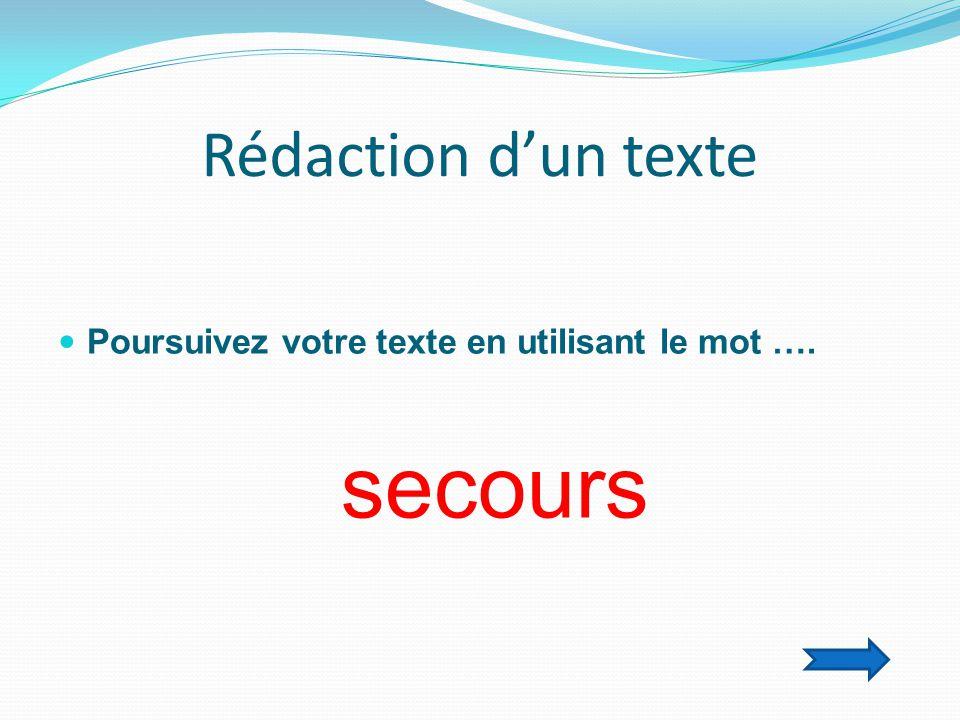 Rédaction d'un texte  Poursuivez votre texte en utilisant le mot …. secours