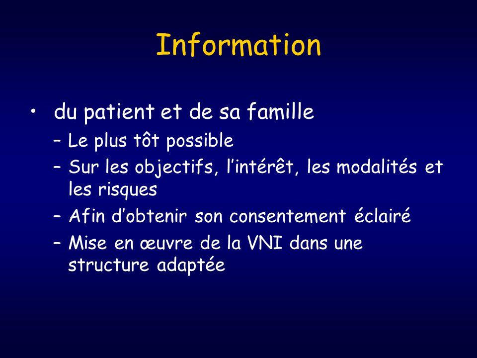 Information • du patient et de sa famille –Le plus tôt possible –Sur les objectifs, l'intérêt, les modalités et les risques –Afin d'obtenir son consentement éclairé –Mise en œuvre de la VNI dans une structure adaptée