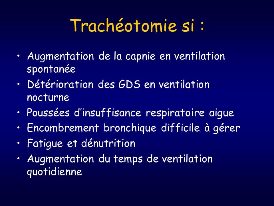 Trachéotomie si : •Augmentation de la capnie en ventilation spontanée •Détérioration des GDS en ventilation nocturne •Poussées d'insuffisance respiratoire aigue •Encombrement bronchique difficile à gérer •Fatigue et dénutrition •Augmentation du temps de ventilation quotidienne