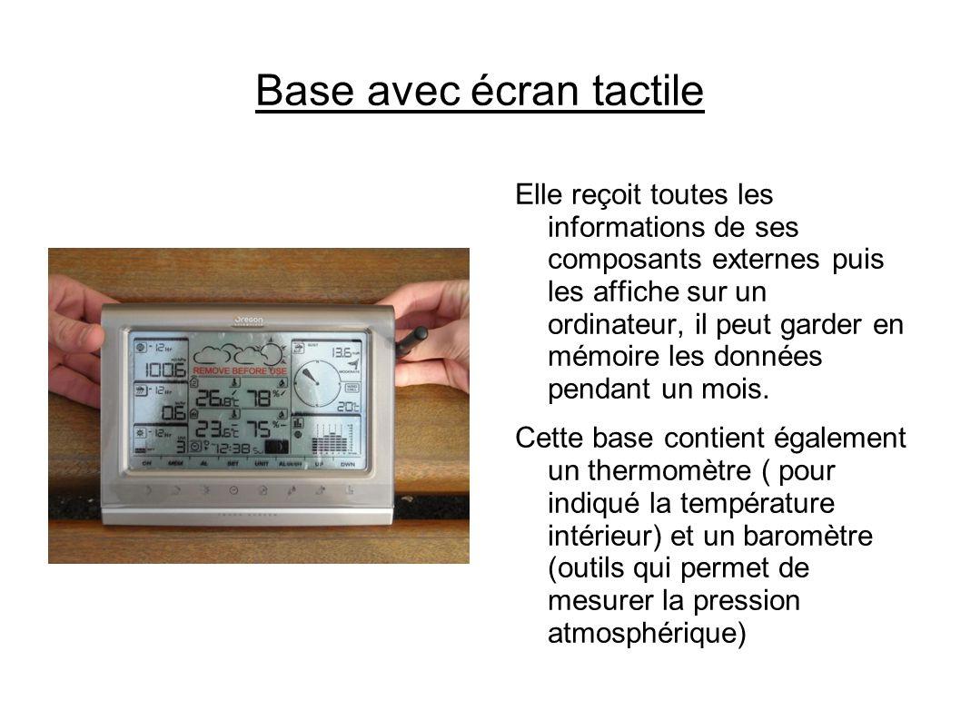Base avec écran tactile Elle reçoit toutes les informations de ses composants externes puis les affiche sur un ordinateur, il peut garder en mémoire les données pendant un mois.