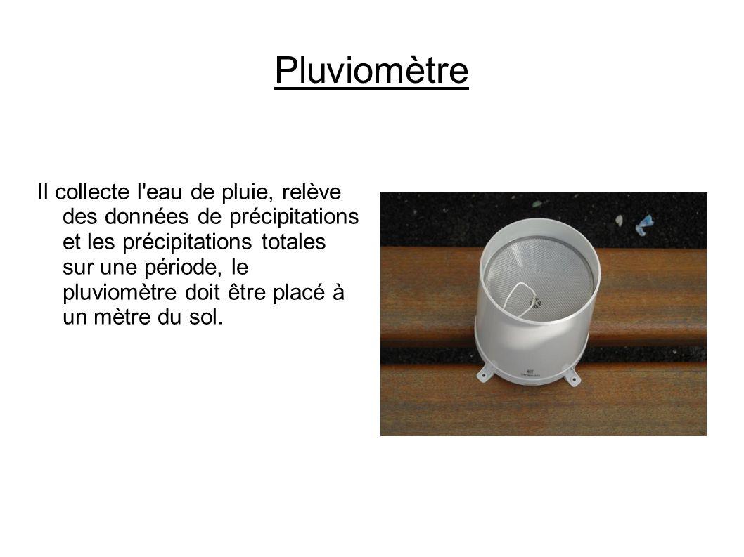 Pluviomètre Il collecte l eau de pluie, relève des données de précipitations et les précipitations totales sur une période, le pluviomètre doit être placé à un mètre du sol.