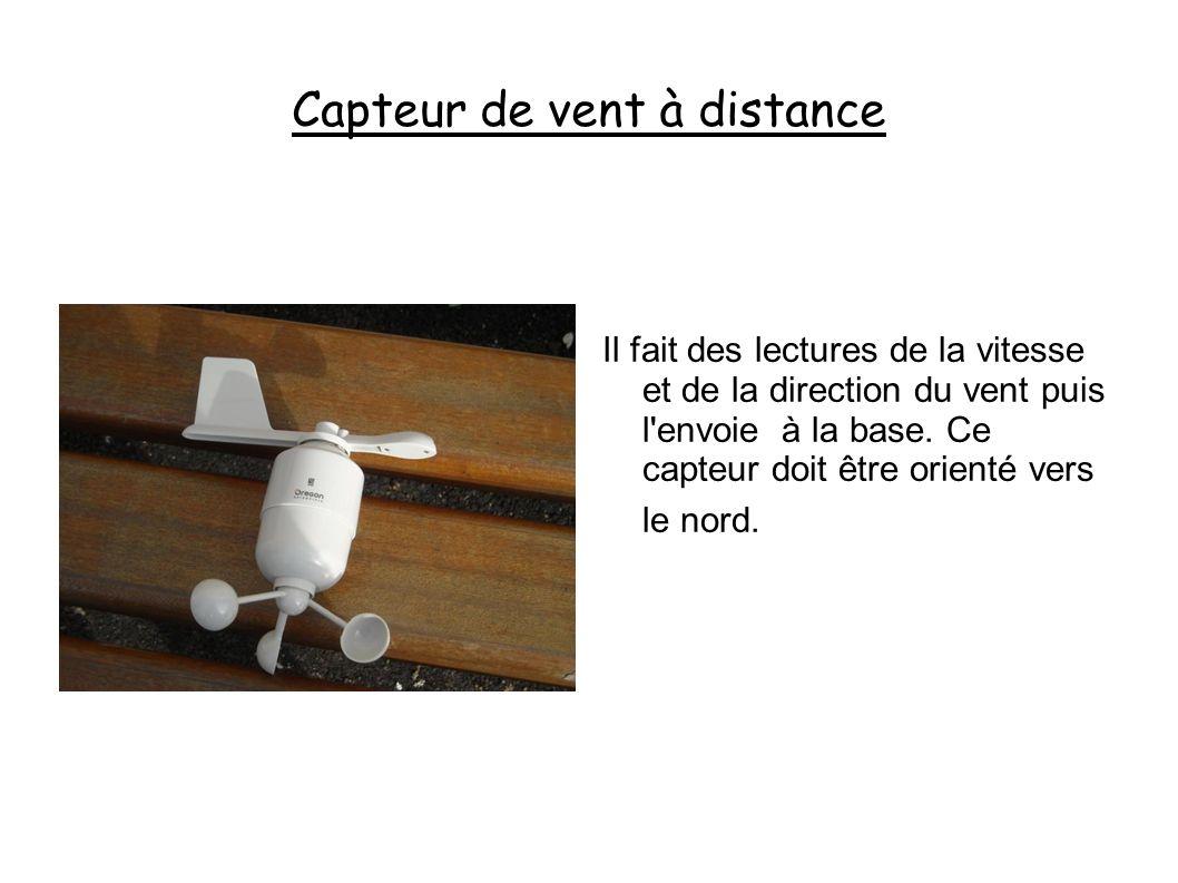 Capteur de vent à distance Il fait des lectures de la vitesse et de la direction du vent puis l envoie à la base.