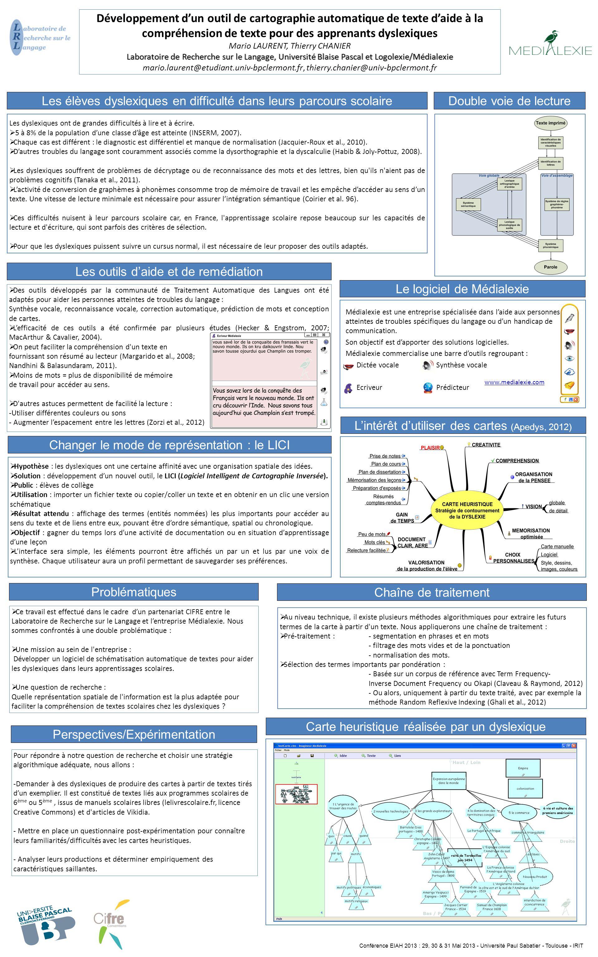 Développement d'un outil de cartographie automatique de texte d'aide à la compréhension de texte pour des apprenants dyslexiques Mario LAURENT, Thierr