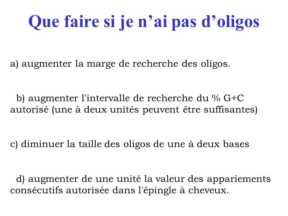 Que faire si je n'ai pas d'oligos a) augmenter la marge de recherche des oligos. b) augmenter l'intervalle de recherche du % G+C autorisé (une à deux