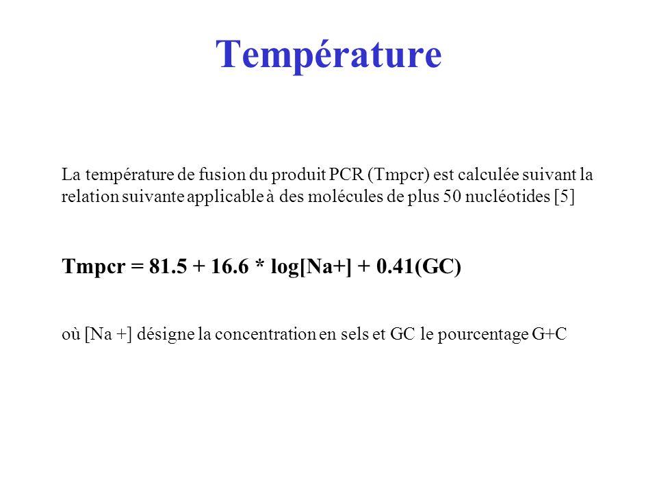 Température La température de fusion du produit PCR (Tmpcr) est calculée suivant la relation suivante applicable à des molécules de plus 50 nucléotide