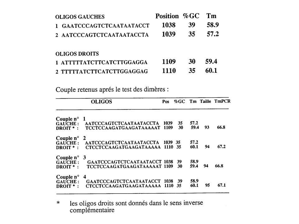Appariement entre 2 oligos Définir le nombre maximal autorisé de bases appariées consécutives dans le dimère susceptible de se former entre deux oligos.