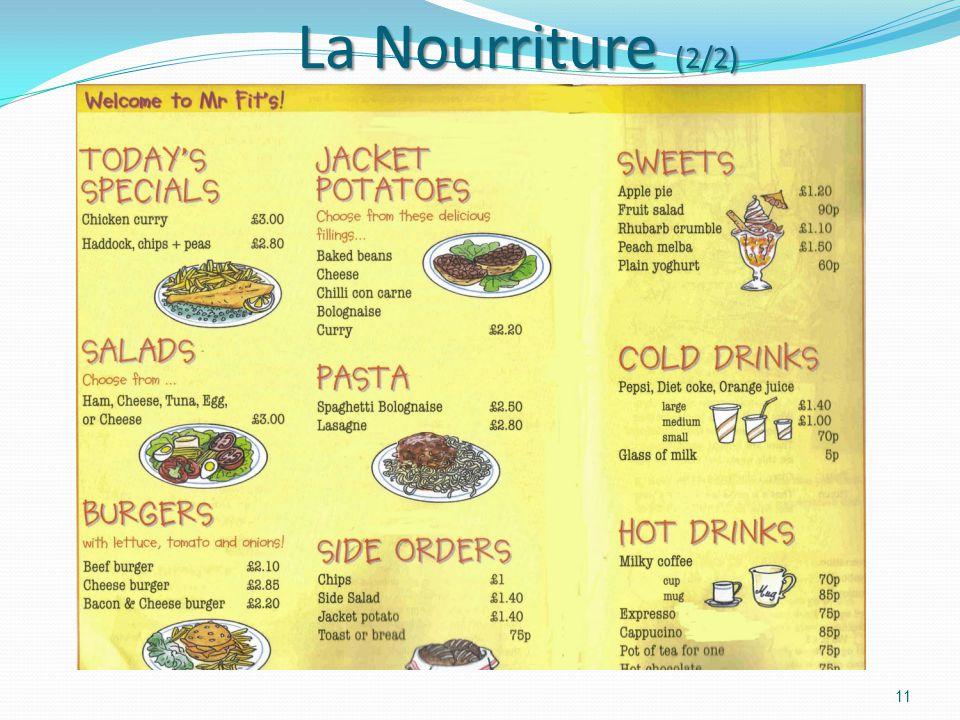 La Nourriture (1/2) La Nourriture (1/2) 10 English breakfast Avec ces menus, j'apprends des mots en anglais
