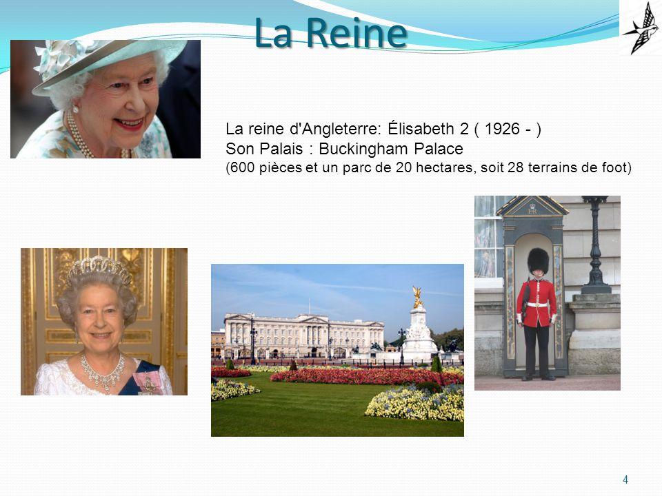 La Reine 4 La reine d Angleterre: Élisabeth 2 ( 1926 - ) Son Palais : Buckingham Palace (600 pièces et un parc de 20 hectares, soit 28 terrains de foot)