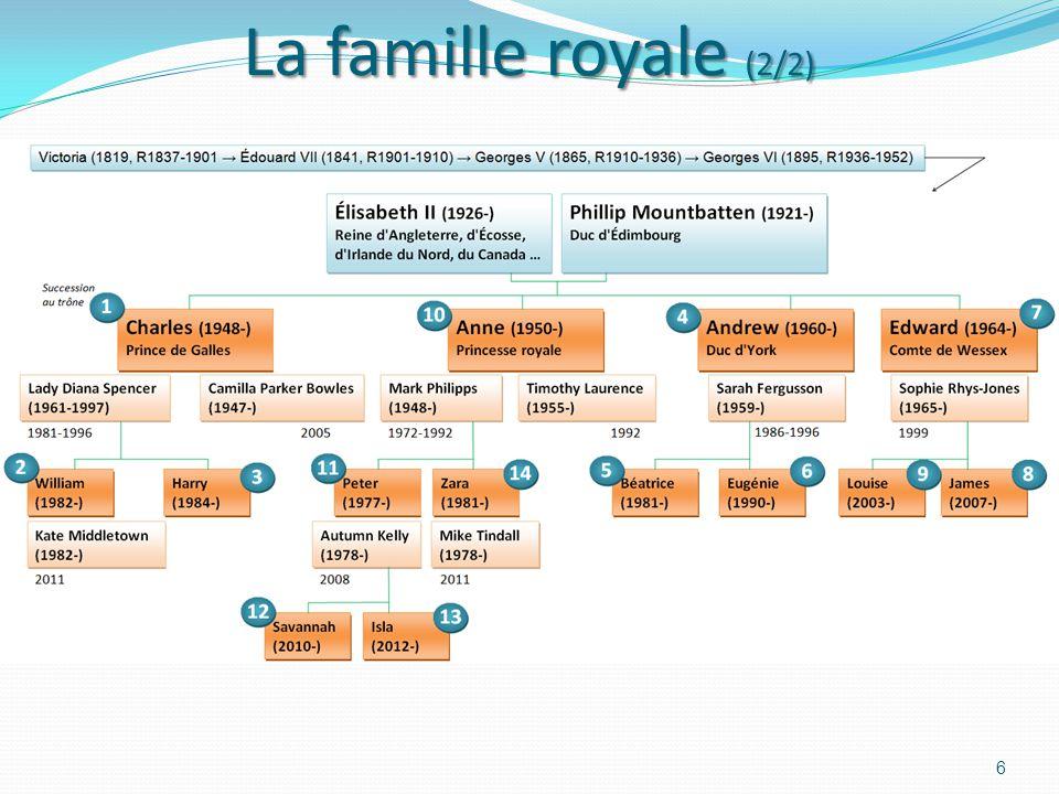La famille royale (1/2) 5 La Reine Élisabeth 2 (1926 -: 86 ans ) Le prince Williams (1982 -: 30 ans) Lady Diana (1961- 1997 : 36 ans) Le prince Charle