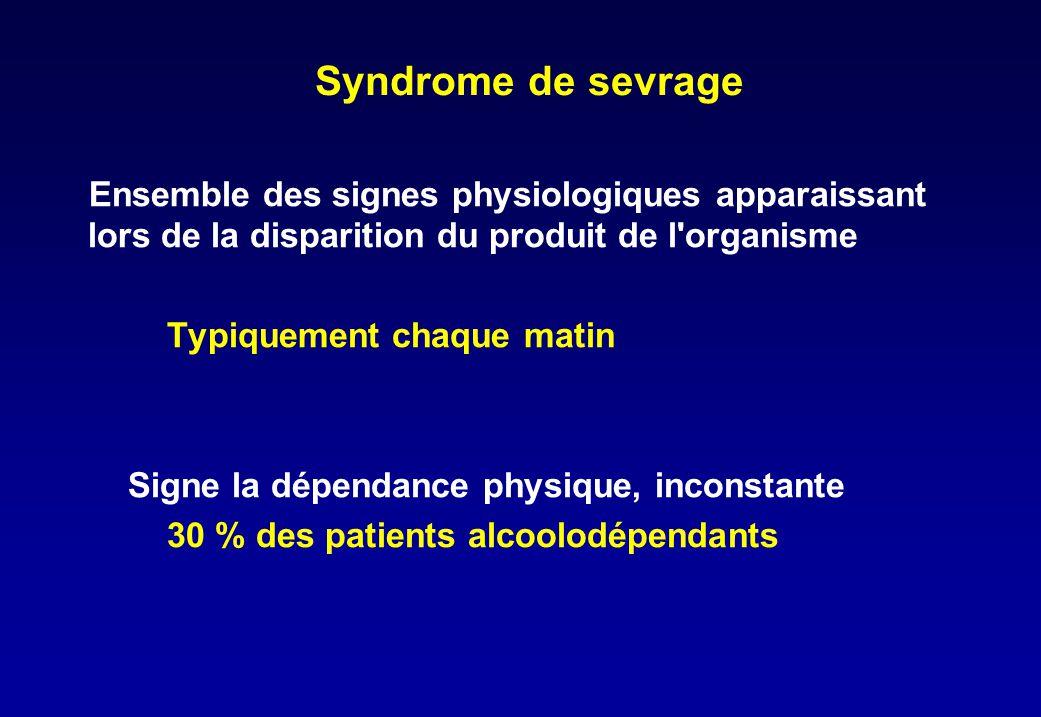 Syndrome de sevrage Ensemble des signes physiologiques apparaissant lors de la disparition du produit de l'organisme Typiquement chaque matin Signe la