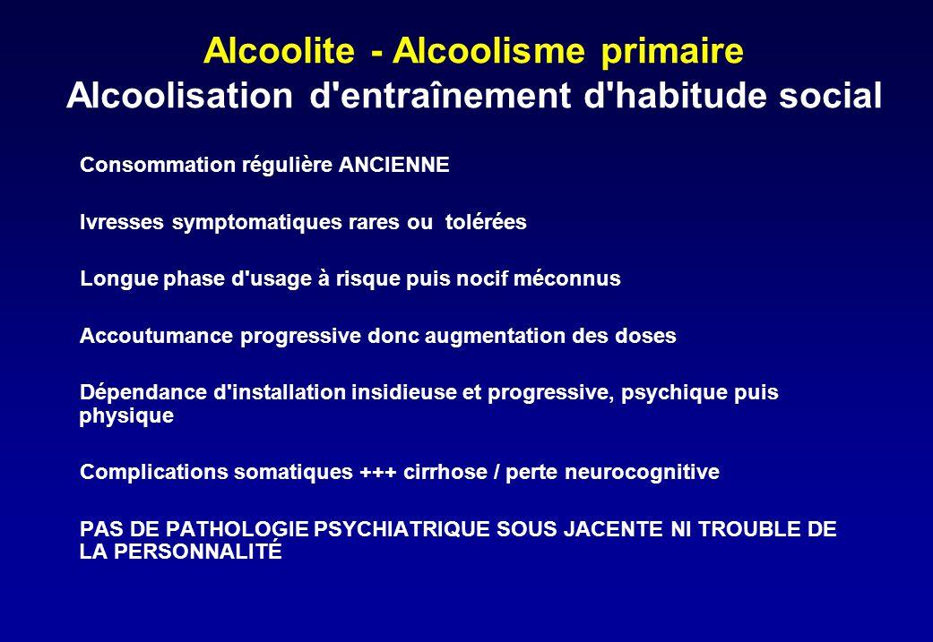 Alcoolite - Alcoolisme primaire Alcoolisation d'entraînement d'habitude social Consommation régulière ANCIENNE Ivresses symptomatiques rares ou toléré