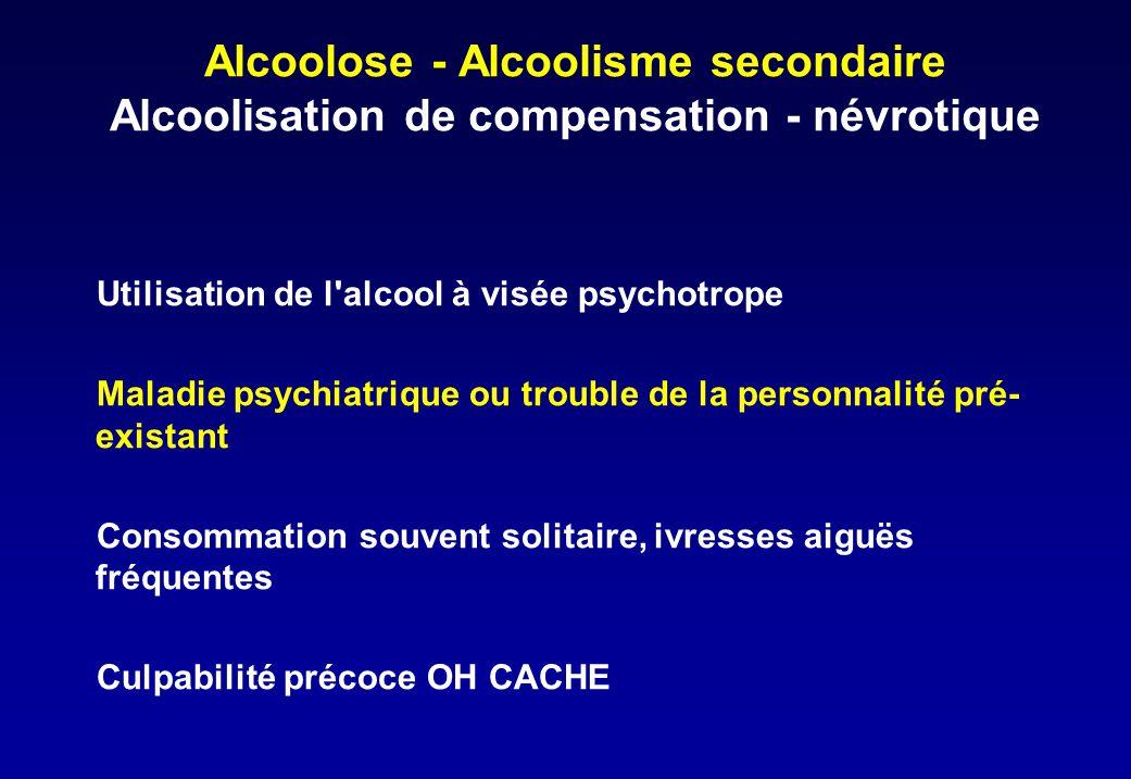 Alcoolose - Alcoolisme secondaire Alcoolisation de compensation - névrotique Utilisation de l'alcool à visée psychotrope Maladie psychiatrique ou trou