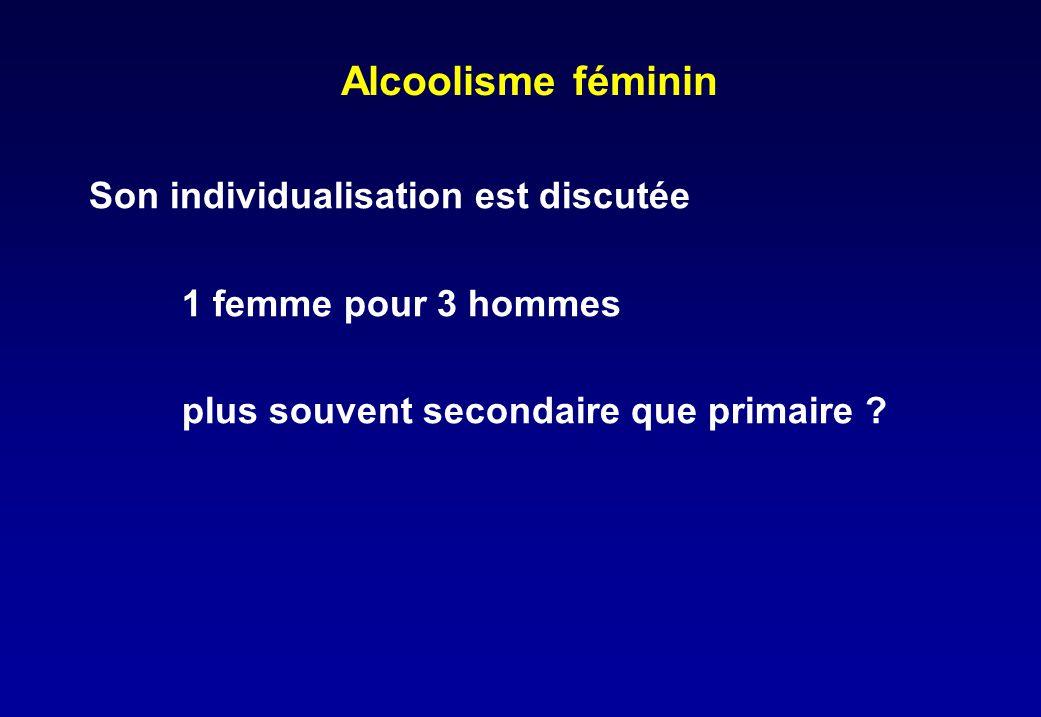 Alcoolisme féminin Son individualisation est discutée 1 femme pour 3 hommes plus souvent secondaire que primaire ?