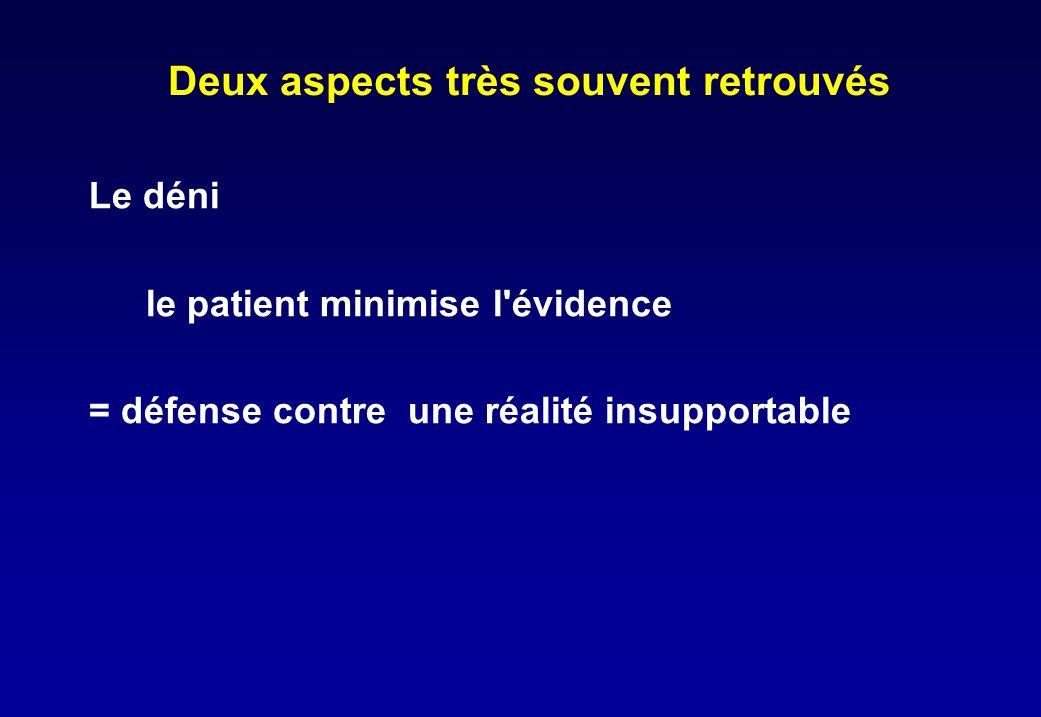 Deux aspects très souvent retrouvés Le déni le patient minimise l'évidence = défense contre une réalité insupportable
