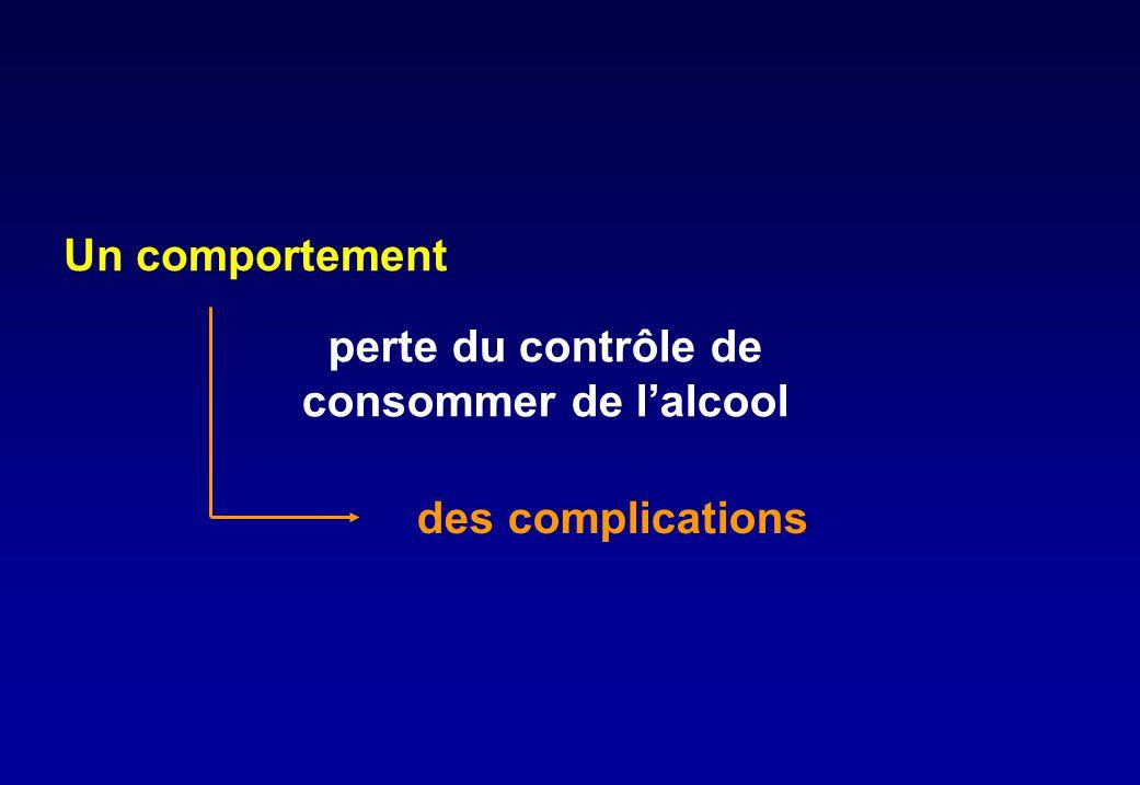 Un comportement perte du contrôle de consommer de l'alcool des complications