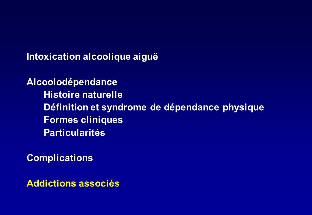 Intoxication alcoolique aiguë Alcoolodépendance Histoire naturelle Définition et syndrome de dépendance physique Formes cliniques Particularités Compl