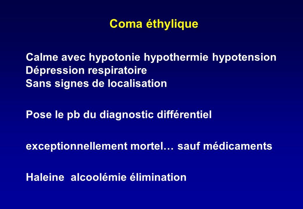 Coma éthylique Calme avec hypotonie hypothermie hypotension Dépression respiratoire Sans signes de localisation Pose le pb du diagnostic différentiel