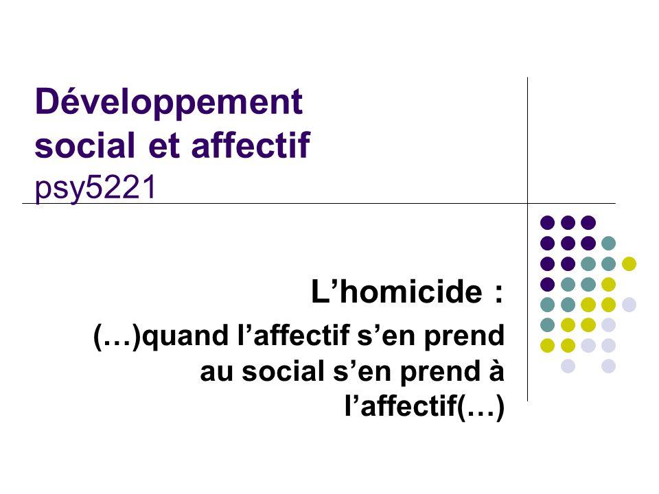 Développement social et affectif psy5221 L'homicide : (…)quand l'affectif s'en prend au social s'en prend à l'affectif(…)