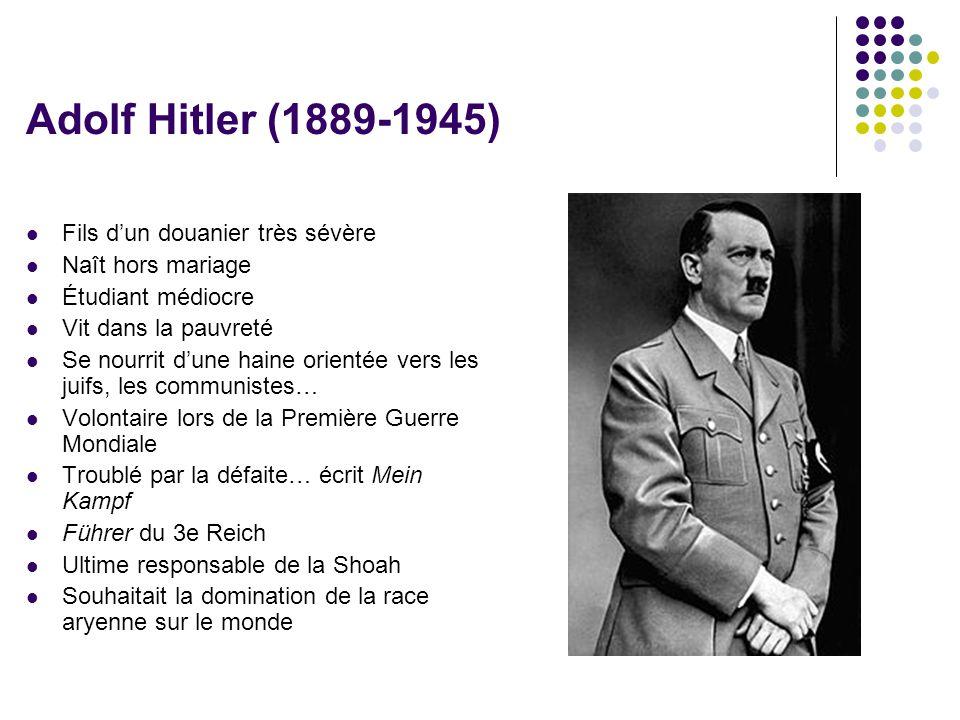 Adolf Hitler (1889-1945)  Fils d'un douanier très sévère  Naît hors mariage  Étudiant médiocre  Vit dans la pauvreté  Se nourrit d'une haine orie