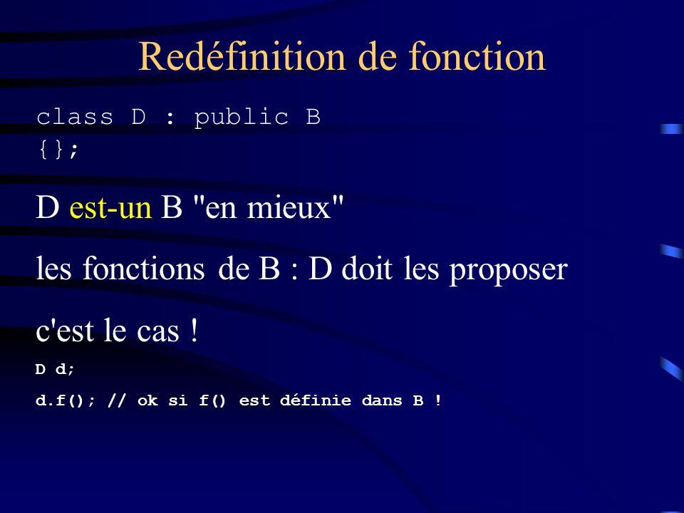 Redéfinition de fonction class D : public B {}; D est-un B en mieux les fonctions de B : D doit les proposer c est le cas .
