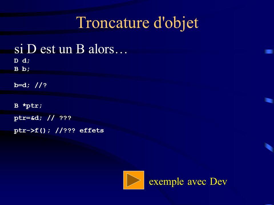 Troncature d'objet si D est un B alors… D d; B b; b=d; //? B *ptr; ptr=&d; // ??? ptr->f(); //??? effets exemple avec Dev