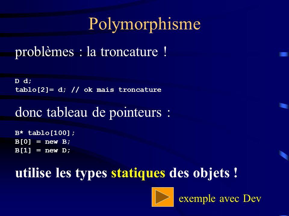 Polymorphisme problèmes : la troncature ! D d; tablo[2]= d; // ok mais troncature donc tableau de pointeurs : B* tablo[100]; B[0] = new B; B[1] = new