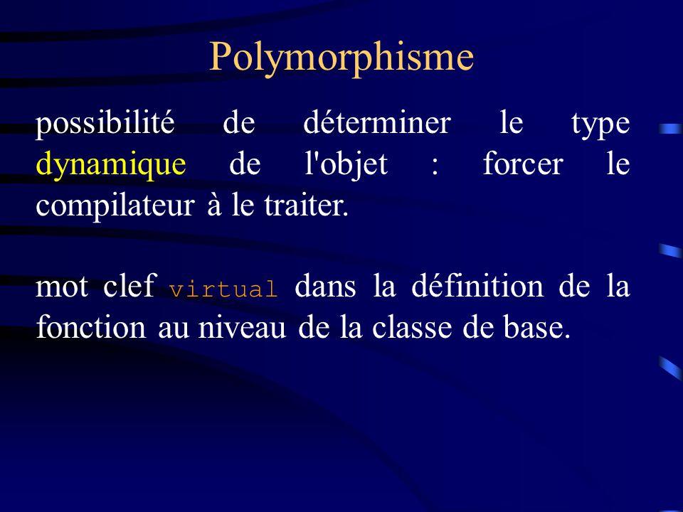 Polymorphisme possibilité de déterminer le type dynamique de l'objet : forcer le compilateur à le traiter. mot clef virtual dans la définition de la f