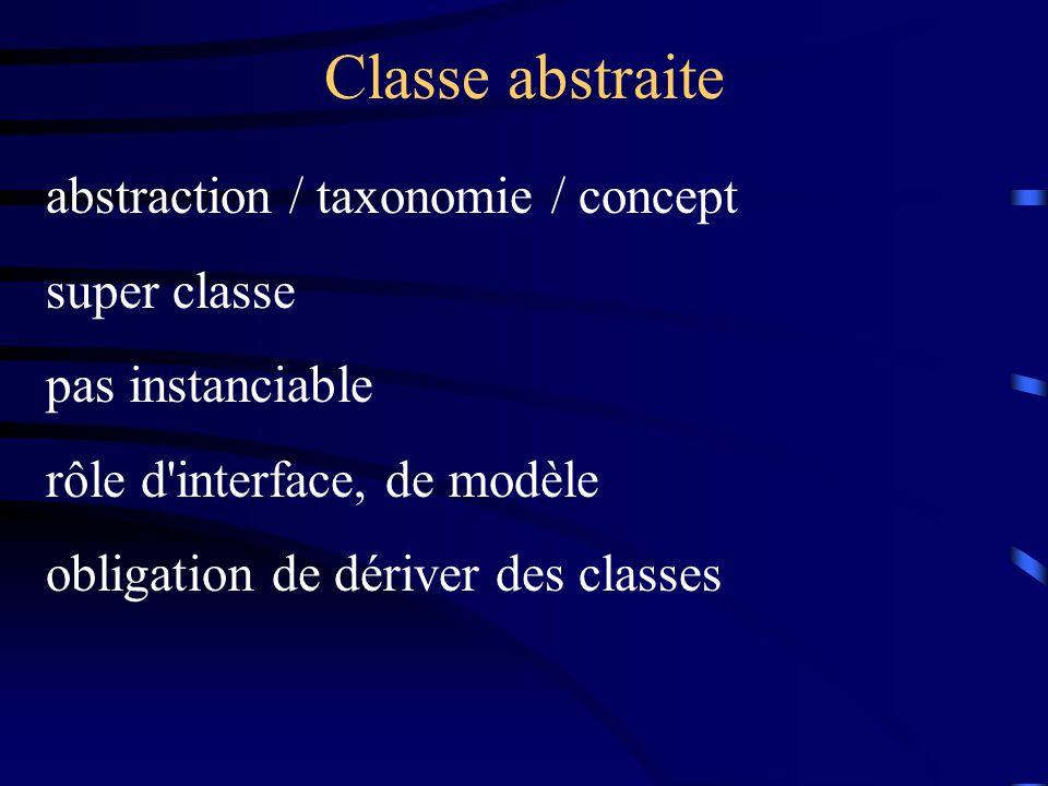 Classe abstraite abstraction / taxonomie / concept super classe pas instanciable rôle d interface, de modèle obligation de dériver des classes