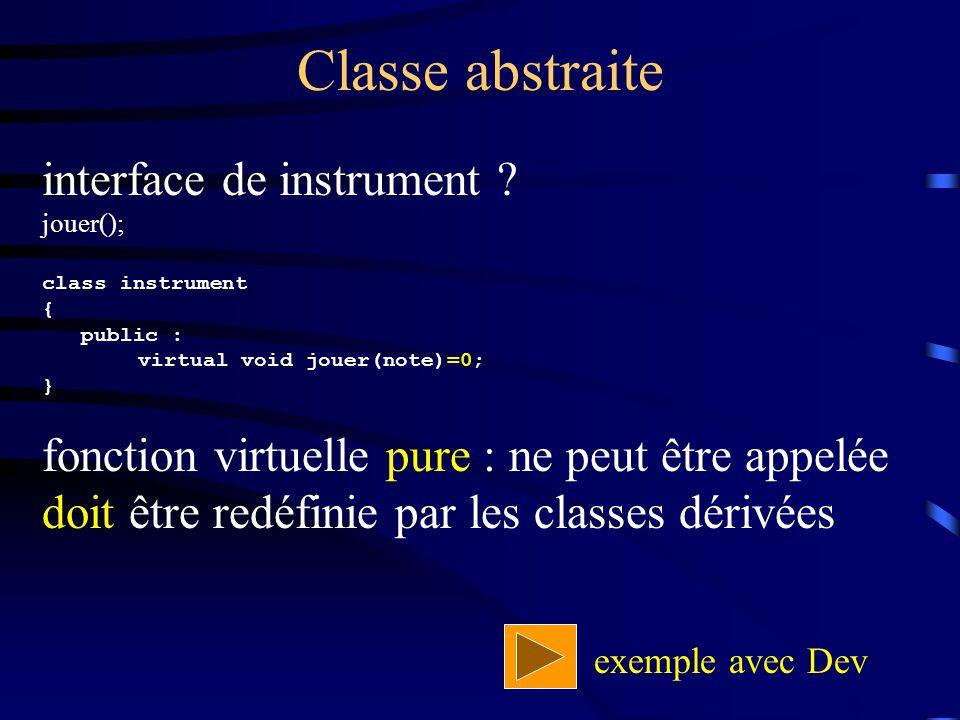 Classe abstraite interface de instrument ? jouer(); class instrument { public : virtual void jouer(note)=0; } fonction virtuelle pure : ne peut être a