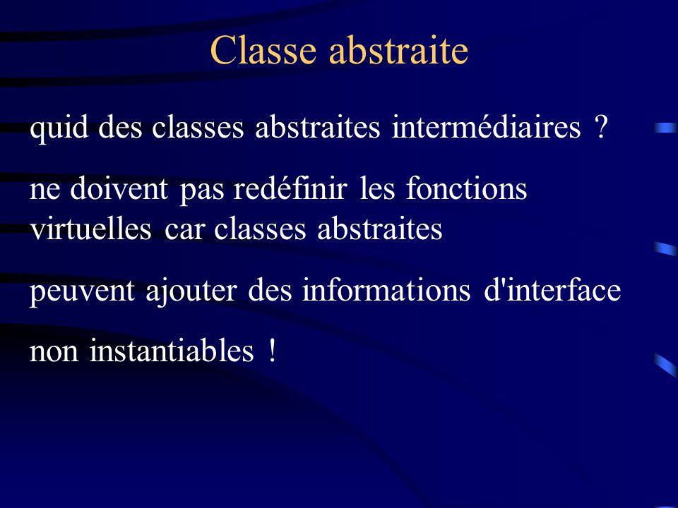 Classe abstraite quid des classes abstraites intermédiaires ? ne doivent pas redéfinir les fonctions virtuelles car classes abstraites peuvent ajouter