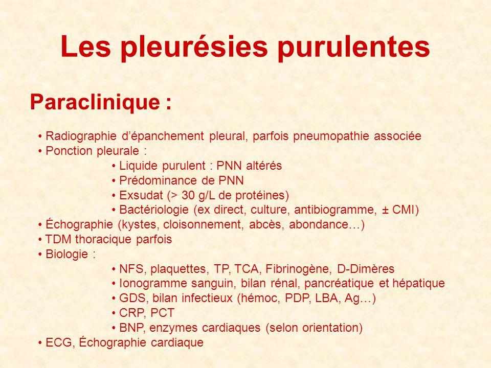 Les pleurésies purulentes Paraclinique : • Radiographie d'épanchement pleural, parfois pneumopathie associée • Ponction pleurale : • Liquide purulent