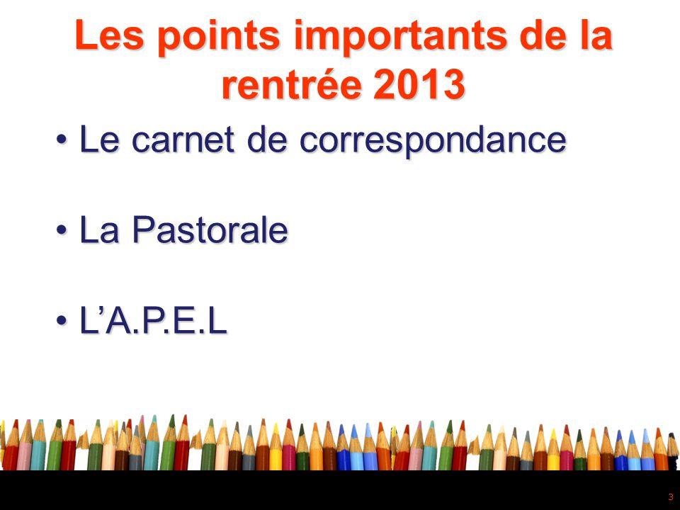3 • Le carnet de correspondance • La Pastorale • L'A.P.E.L