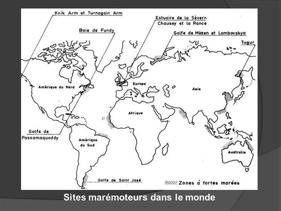 Sites marémoteurs dans le monde
