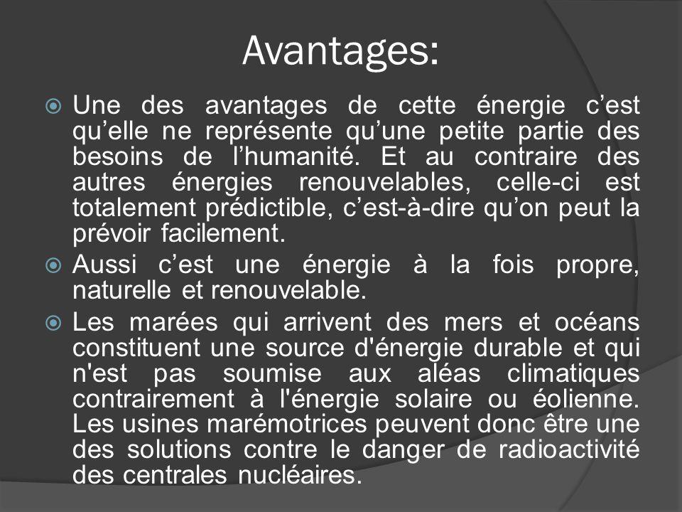 Avantages:  Une des avantages de cette énergie c'est qu'elle ne représente qu'une petite partie des besoins de l'humanité. Et au contraire des autres