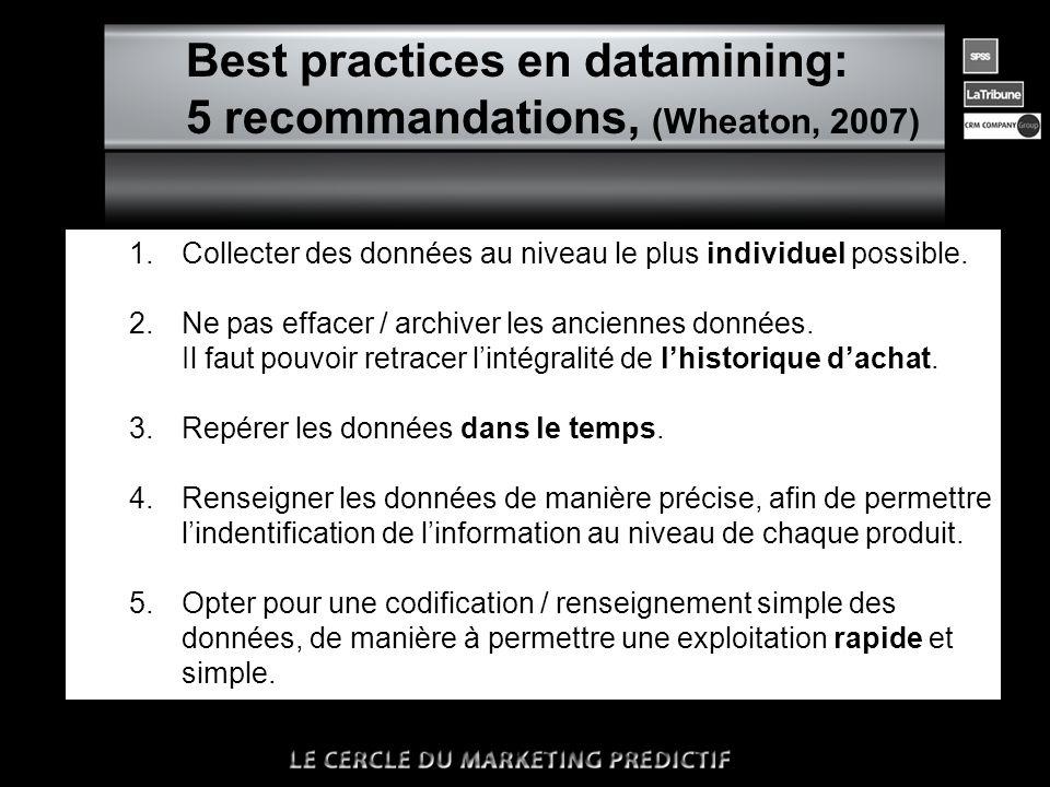 n Best practices en datamining: 5 recommandations, (Wheaton, 2007) 1.Collecter des données au niveau le plus individuel possible. 2. Ne pas effacer /