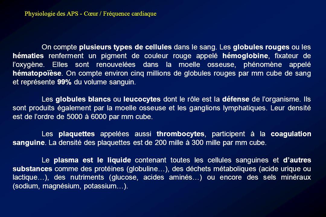 Physiologie des APS - Cœur / Fréquence cardiaque On compte plusieurs types de cellules dans le sang. Les globules rouges ou les hématies renferment un